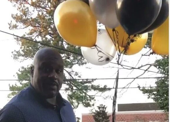 Shaq Gives Out $500 Ballons On His Birthday