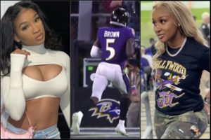 Hollywood Brown Had Both His Girlfriends Cheering Him On During Chiefs-Ravens Game
